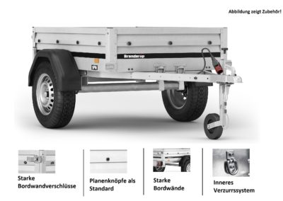 Brenderup 1150 SUB 500 kg ankippbar..